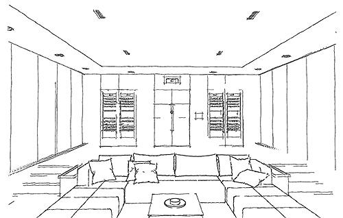 Heimkino Design-Skizze